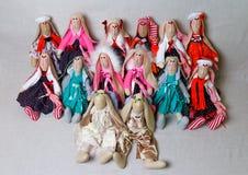 Leksaker kaniner, kaniner som är handgjorda Royaltyfri Bild
