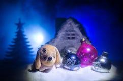 Leksakhund - ett symbol av det nya året under snön mot bakgrunden av gran förgrena sig Leksaks hund som ett symbol av 2018 nya år Royaltyfria Bilder