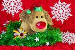 leksakhund för nytt år som omges av dekorativa julbeståndsdelar och granfilialer på röd bakgrund Arkivfoto