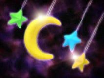 Leksakmåne och stjärnor royaltyfri fotografi