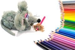 Leksakmusen med en uppsättning av kulöra blyertspennor royaltyfri foto