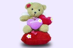 Leksaknallebjörn med röd hjärta Royaltyfria Bilder