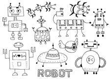 Leksakroboten st?llde in - den retro robotsamlingsvektorn royaltyfri illustrationer