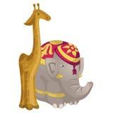 Leksakstatyetter giraff och elefant stock illustrationer