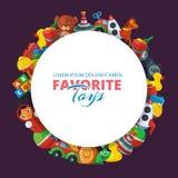 Leksaksymboler för ungar i cirkelform stock illustrationer