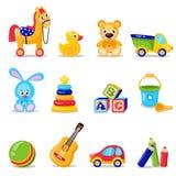 Leksakuppsättning som isoleras på vit bakgrund Inklusive häst skära i tärningar nallebjörnen, boll, leksaker stock illustrationer