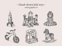 Leksakvektorhand-teckning uppsättning royaltyfri illustrationer