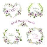 Lelie en Anemone Flowers Floral Wreaths Banners en Markeringen Stock Afbeeldingen