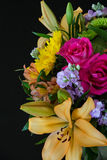 Lelie en Roze Rose Bouquet Stock Afbeelding