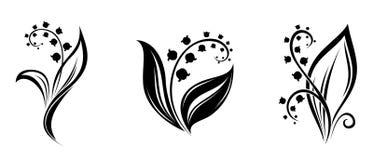 Lelietje-van-dalenbloemen. Zwarte silhouetten. Stock Afbeelding