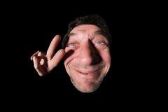 Lelijke en gelukkige mens Stock Foto's