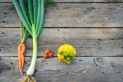 In lelijke groenten op schuurhout stock foto