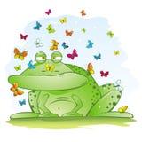 Lelijke Grote Kikker met Mooie Vlinders Royalty-vrije Stock Afbeeldingen