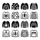 Lelijke Kerstmissweater op geplaatste verbindingsdraadpictogrammen Stock Afbeelding