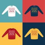Lelijke Kerstmissweaters of verbindingsdraden met geplaatste de pictogrammen van pixeldeers Royalty-vrije Stock Foto's