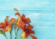 Lelui lata piękny pomarańczowy wystrój błękitny drewniany rocznika communion Obraz Stock