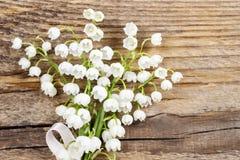 Leluja dolina kwitnie na drewnianym tle zdjęcia royalty free