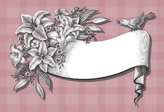 Leluja kwiatów ręki rocznika rysunkowa karta na różowym tle Zdjęcia Stock