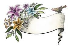 Leluja kwiatów ręki rocznika karty klamerki rysunkowa sztuka Obraz Stock