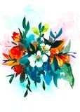 Leluja kwiatu akwareli bukiet beak dekoracyjnego latającego ilustracyjnego wizerunek swój papierowa kawałka dymówki akwarela Fotografia Stock