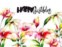 Leluja kwitnie z tytułowym wszystkiego najlepszego z okazji urodzin Fotografia Stock