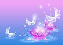 Leluje i motyl Zdjęcie Royalty Free