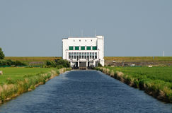 Lely Pumping Station with canal Royalty Free Stock Photos