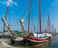 Lelystad, The Netherlands april 11 2018, old wooden sailing ship. S in Dutch harbour stock image