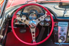 Cadillac Corvette Oldtimer interior  at the annual  national oldtimer day in Lelystad. Lelystad, The Netherlands, June 18, 2017: Cadillac Corvette Oldtimer Stock Images