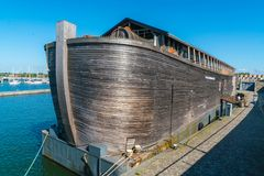 Batavia haven with replica of the Ark of Noach. Lelystad, The Netherlands, May 25, 2017: Batavia haven with replica of the Ark of Noach Royalty Free Stock Images