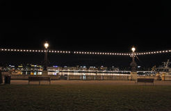 Lemański jezioro nocą Szwajcaria Obraz Stock