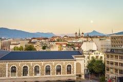 Lemański miasto przy zmierzchem, Szwajcaria zdjęcie stock