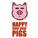 Lema con un cerdo del Año Nuevo en un fondo blanco ilustración del vector
