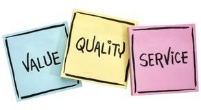 Lema de los valores, de la calidad y del servicio foto de archivo