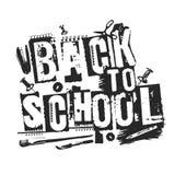 Lema de nuevo a escuela, estilo del grunge Palabras impresas lamentables Fotos de archivo libres de regalías