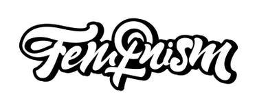 Lema del feminismo en poner letras a estilo con el emblema o la muestra de las mujeres Mujer femenina Vector stock de ilustración