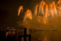 Lemańscy Szwajcaria fajerwerki na jeziorze Obrazy Royalty Free