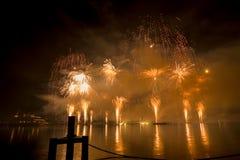 Lemańscy Szwajcaria fajerwerki na jeziorze Obraz Stock