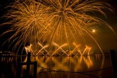 Lemańscy Szwajcaria fajerwerki na jeziorze Zdjęcia Royalty Free