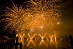 Lemańscy Szwajcaria fajerwerki na jeziorze Obraz Royalty Free