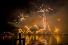 Lemańscy Szwajcaria fajerwerki na jeziorze Obrazy Stock