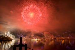 Lemańscy Szwajcaria fajerwerki na jeziorze Zdjęcie Royalty Free
