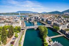 Leman日内瓦湖市鸟瞰图在瑞士 免版税库存图片