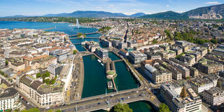 Εναέρια άποψη της λίμνης Leman - πόλη της Γενεύης στην Ελβετία Στοκ Εικόνες
