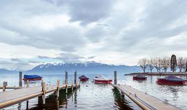 Leman lake on cloudy day. View on lake Leman on cloud day. City of Lausanne, Switzerland Stock Image