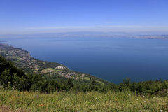 The Leman lake, Evian, France. Wiev from Thollon les Memises Stock Photo