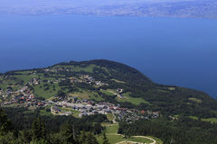 The Leman lake, Evian, France. Wiev from Thollon les Memises Stock Photos