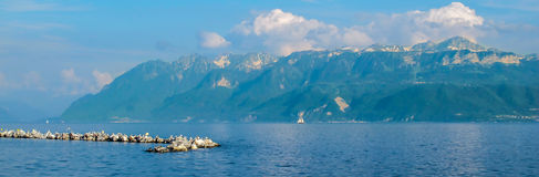 Leman. Lake Geneva (Leman), photographed from the Swiss side royalty free stock photos
