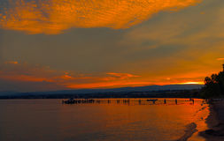 Leman lake sunset. Sunset with the fantastic color over the lake Leman. Lausanne Switzerland Stock Photos