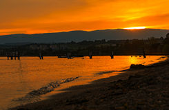 Leman lake sunset. Lausanne Switzerland. Sunset with the fantastic color over the lake Leman. Lausanne Switzerland Stock Photography